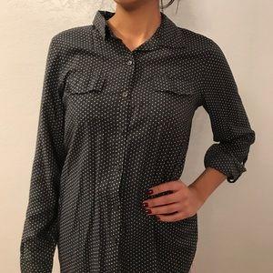 Grey polka dot collar shirt button down