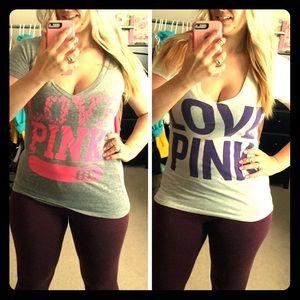 2 VS LOVE PINK V-neck Tees!