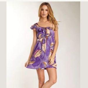 Voom Jon Han silk purple asymmetrical sleeve dress