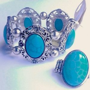 Jewelry - Set of Turquoise Stone Bracelet & Ring