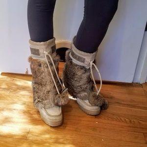 "Coach Size 7 Fur Wedge Winter Boots ""Maryann"""