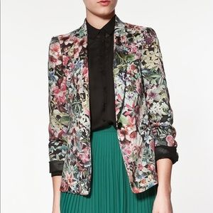 Zara Basic Floral Blazer Jacket, Size Large