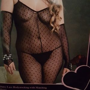 Daisy Lace Bodystocking and Fingerless Gloves