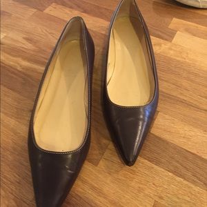 Leather J Crew Brown Flats 8 - great shape