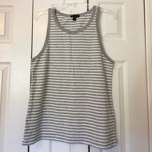 J.Crew classic tank top in gray and white stripe