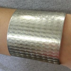 Vintage Embossed Cuff Bracelet Silver Metal Adjust