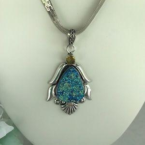 Jewelry - Titanium Druzy, Citrine Pendant stamped 925
