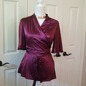 BCBG burgundy silk wrap kimono blouse
