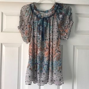 Dress Barn boho flowy top with tie in front.
