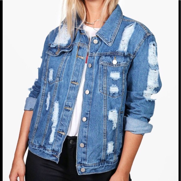 f59fa8735d1 NEW Distressed Denim Jackets Oversize Plus Size 22