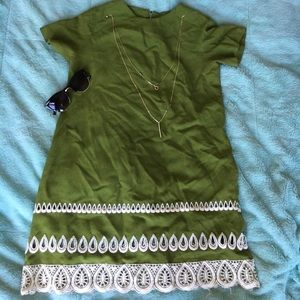 VINTAGE 1960s Handmade Green Dress
