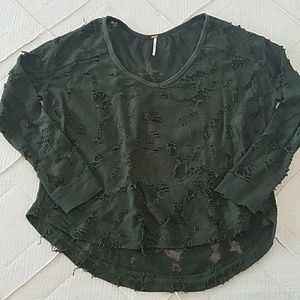 Free People very distressed sweater green large