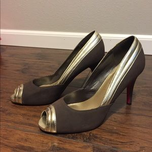 Gold & Brown ShoeDazzle Shoes with Signature Sole