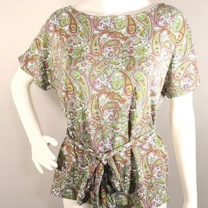 Talbots Paisley Petite Stretch Multi-colorful Top