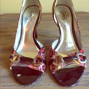 Carlos Santana Size 7. Heels. Pink/green satin