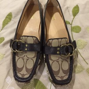 Brown coach driving loafer leather insole