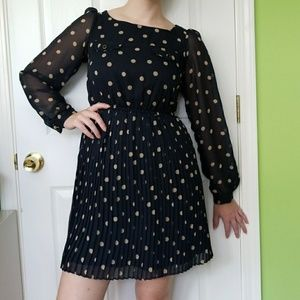 Navy Dress with Polka Dots