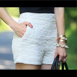 EXPRESS lace high-waisted shorts