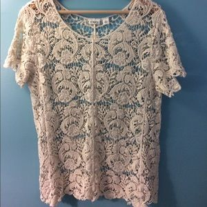 Gorgeous Cato Ivory Lace Crocheted Top