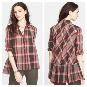 Free People Peppy Plaid Button Down Shirt