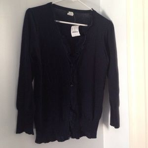 JCrew navy blue cardigan sweater with Lace size S