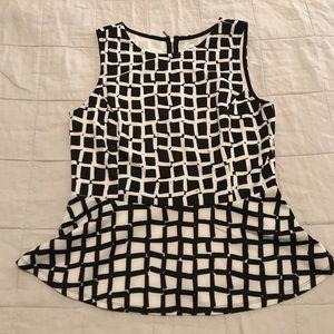 Black and White Peplum Sleeveless Top