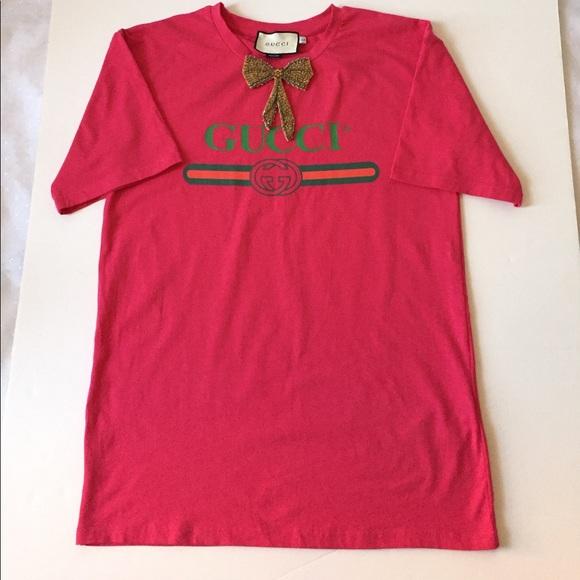 1ea65110 Gucci Women Bow T-Shirt Oversized Style Sz L (12)