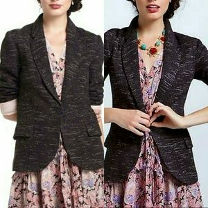 Anthro Cartonnier Dashes Knit Blazer Black&White