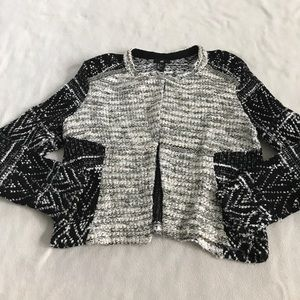 H&M Black Silver Cream Beaded Accent Tweed Sweater