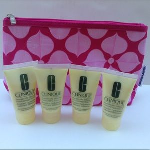 Lot of 4 Clinique moisturizers + Cosmetic Bag