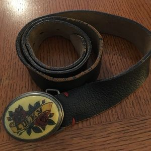 Lucky Brass Red Rose & Black Leather Belt-36""
