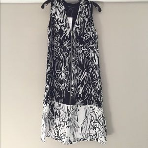 FRENCH CONNECTION Black & White Flower Print Dress