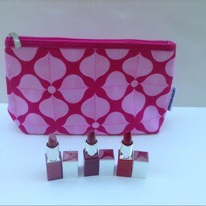Lot of 4 Clinique Pop Lip Colour + Cosmetic  Bag