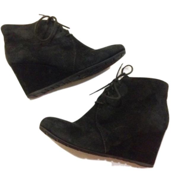 83de9f01b1f Clarks Shoes - Clarks Black Suede Rosepoint Dew Wedge Booties