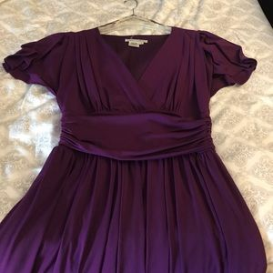Purple maggy London stretchy flare dress.