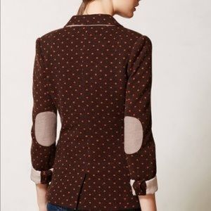 Anthropologie Cartonnier Brown Polka Dot Blazer S