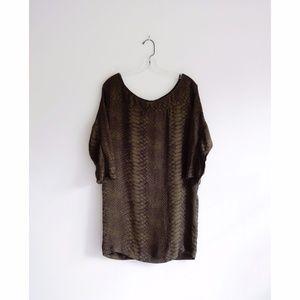 Joie Brown Snakeskin Print Silk Mini Dress sz XS