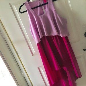 High low color block dress