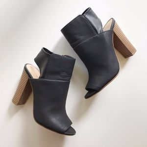 Express Black Faux Leather Block Heel Size 7