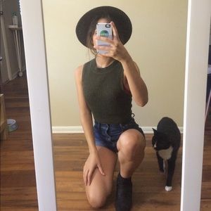 Olive green robbed crop top