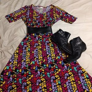 Lularoe Ana maxi dress with 3/4 sleeves