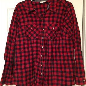 Cato- Red & Black plaid blouse