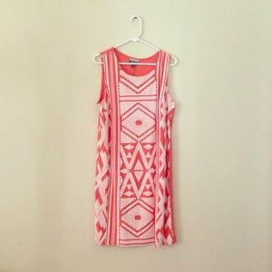 Coral and white colored mini dress