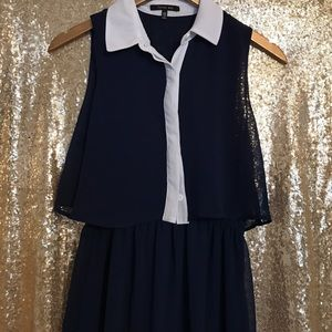 Navy with White Trim/Collar Maxi