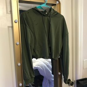 forever 21 long sleeve green hoodie w rips