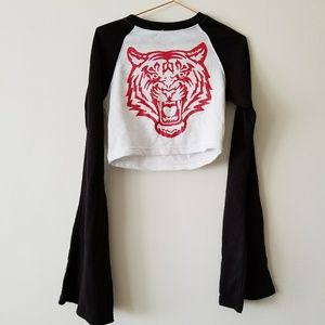 Cropped tiger bell sleeve top