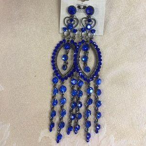 Crystal Dangle Chandelier Earring/Blue