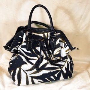 🍁EXPRESS Canvas Black/White Handbag Leaf Pattern