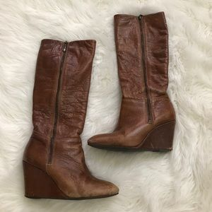 Steven by Steve Madden Brown Leather Zip Boots