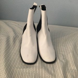 Black and white ankle booties